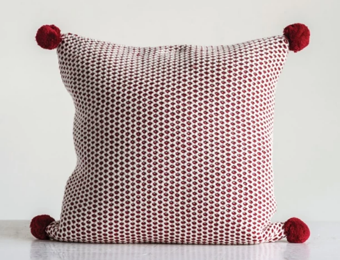 Red Pom Pom Pillow