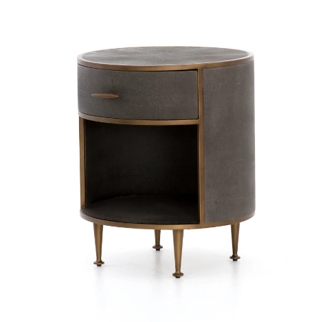 Faux Shagreen Round Night Stand
