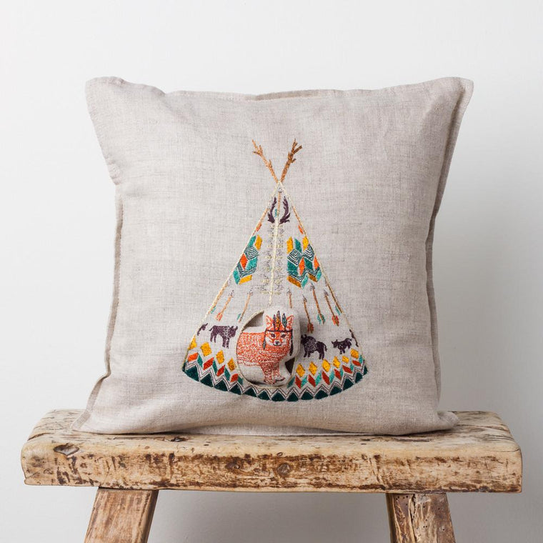 Embroidered Teepee Pocket Pillow