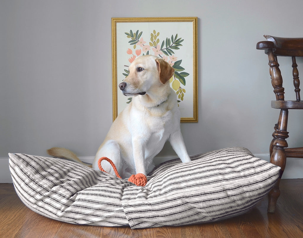 Ticking Stripe Dog Bed