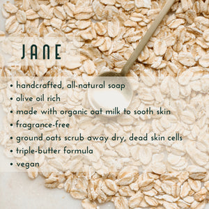 Jane Fragrance Free Oatmeal Soap | Gilded Olive Apothecary