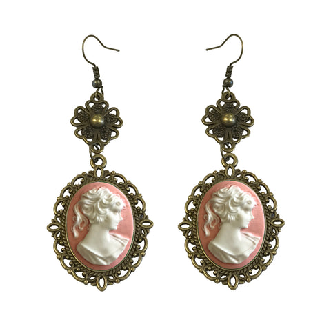 Pink cameo earrings