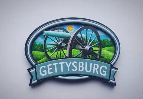Gettysburg Cannon Oval Wooden Magnet