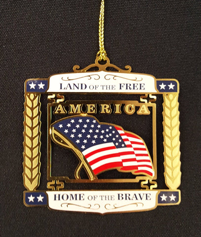 Land of the Free, Home of the Brave - America Christmas Ornament