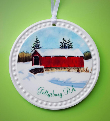 Snow Covered Bridge Ornament, Gettysburg, PA