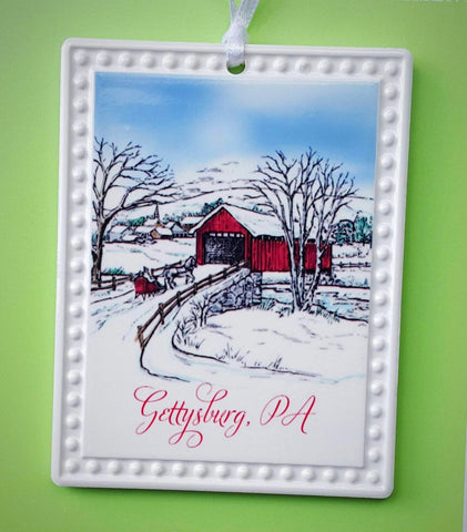 Gettysburg, PA Covered Bridge Christmas Ornament