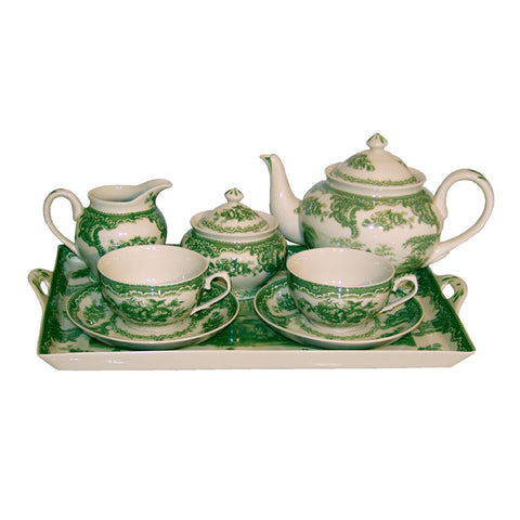 Green and white tea set