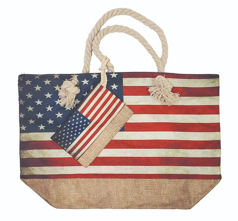 Rustic Flag Tote Bag set