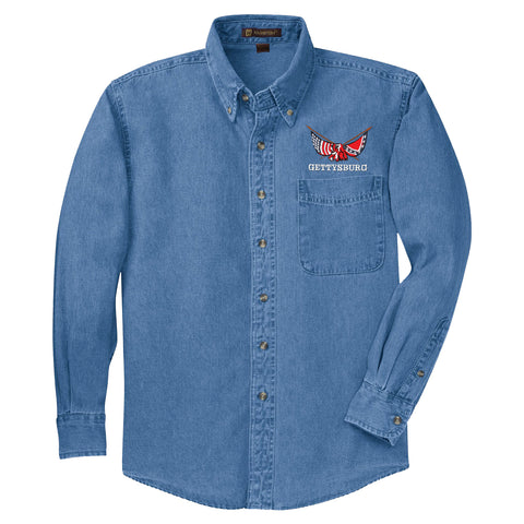 Gettysburg Denim Longsleeve Shirt with crossed flags