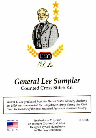 Counted Cross Stitch Kit, General Lee Sampler