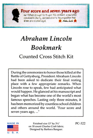 Counted Cross Stitch,  Abraham Lincoln Bookmark