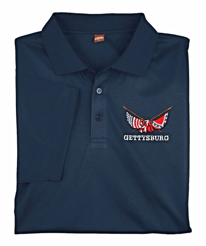 Moisture wicking golf shirt, Gettysburg crossed flags