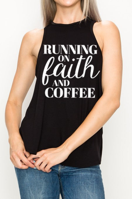 FAITH N COFFEE GRAPHIC TANK TOP