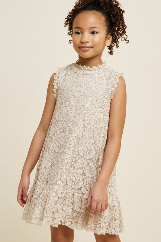KIDS LACE RUFFLE SWING DRESS