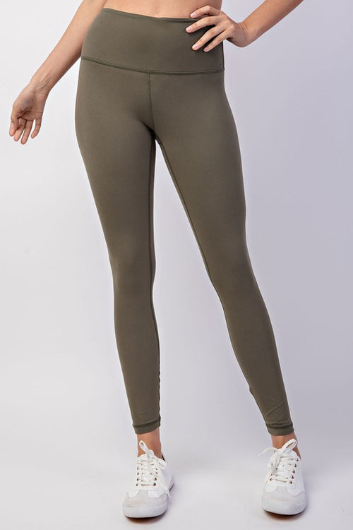 HIGH WAIST YOGA LEGGINGS - OLIVE