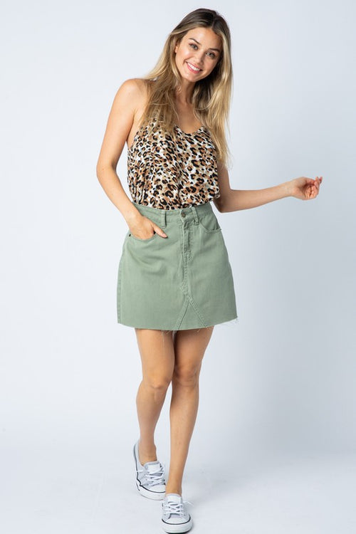 EDEN OLIVE DENIM SKIRT