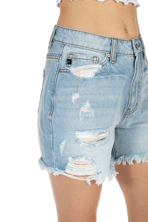 LETS HANGOUT DISTRESSED DENIM SHORTS