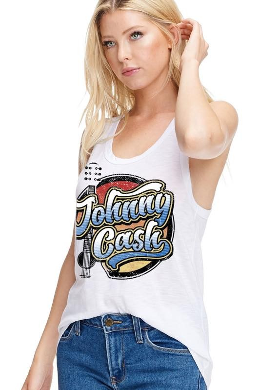 JOHNNY CASH RACER-BACK GRAPHIC TANK