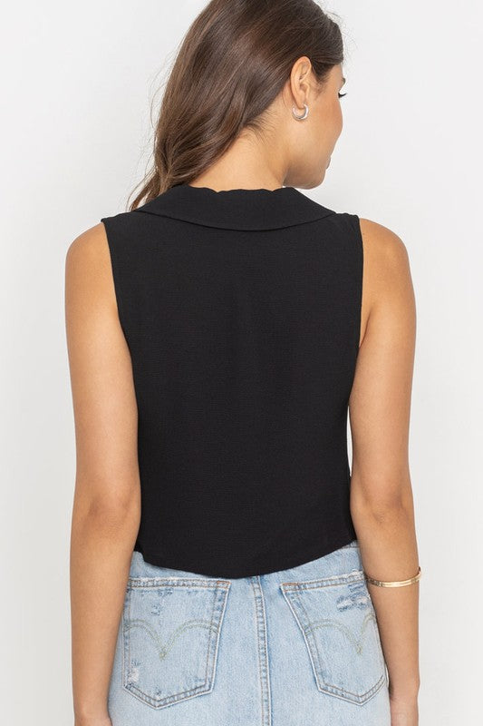 PRETTY PLEASE CROPPED TANK - BLACK