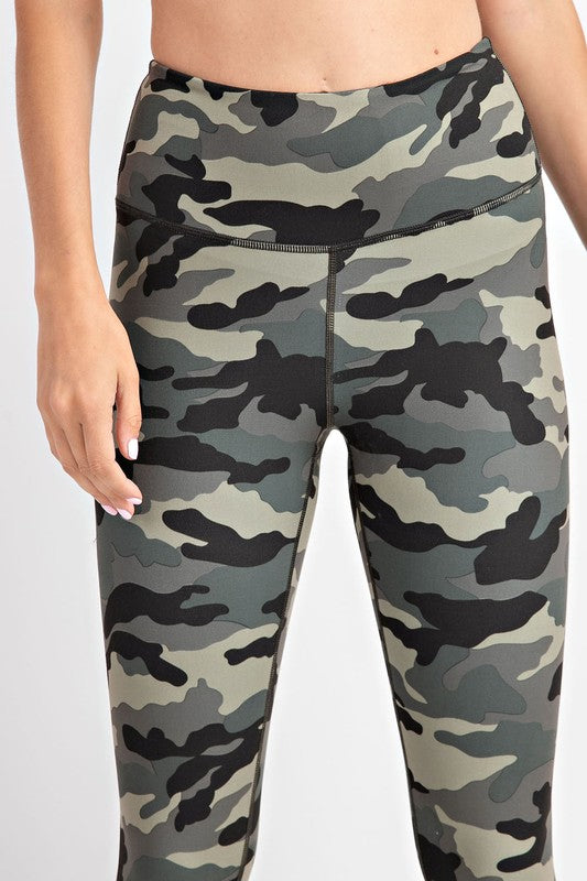 CAMO YOGA LEGGINGS - OLIVE