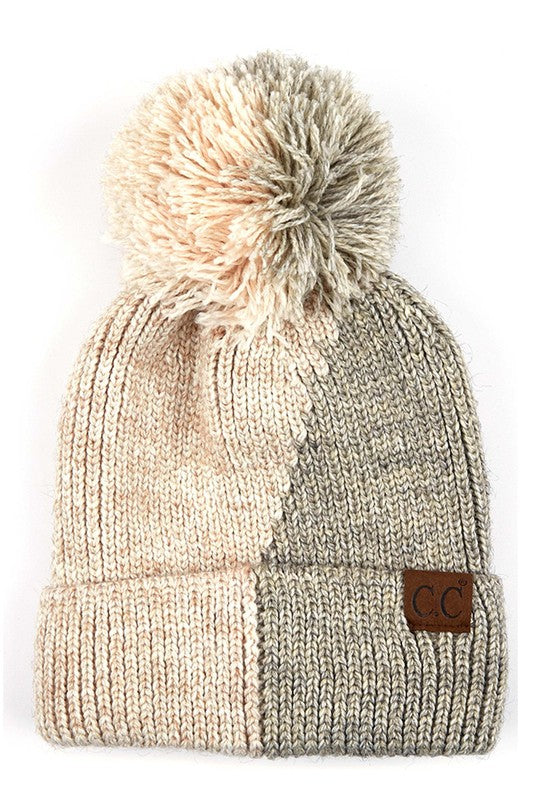 C.C DUAL COLOR KNIT BEANIE