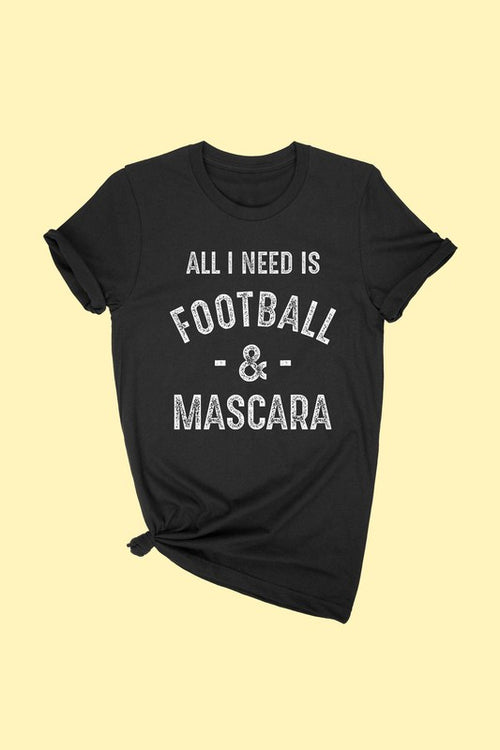 FOOTBALL AND MASCARA GRAPHIC T-SHIRT