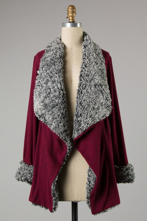 MIDWEST NIGHTS SHERPA CARDIGAN - BURGUNDY