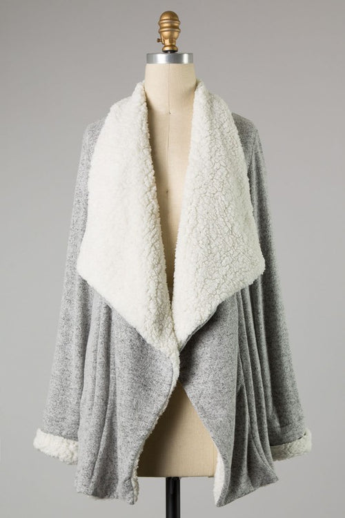 MIDWEST NIGHTS SHERPA CARDIGAN - H. GREY