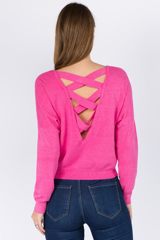 GET CLOSER FUCHSIA CROSSED TOP