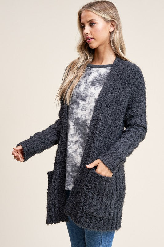 THROUGH IT ALL CHARCOAL CARDIGAN
