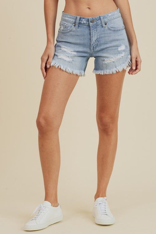 GO ANYWHERE LIGHT WASH DENIM SHORTS