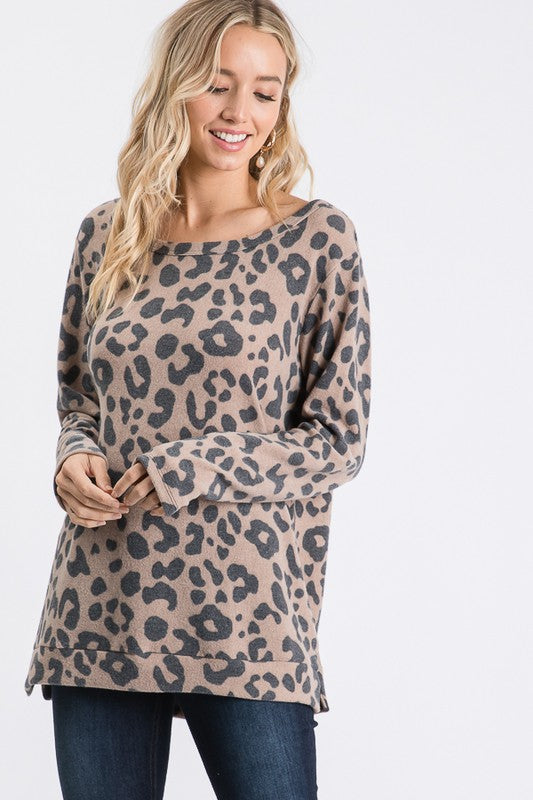 THE BRUSHED LEOPARD SWEATER - MOCHA