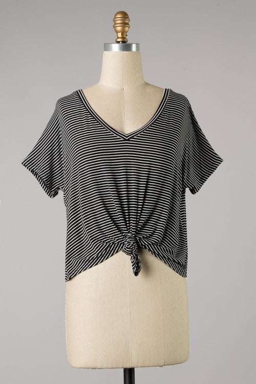 ESSENTIAL KNOTTED STRIPE TEE - BLACK