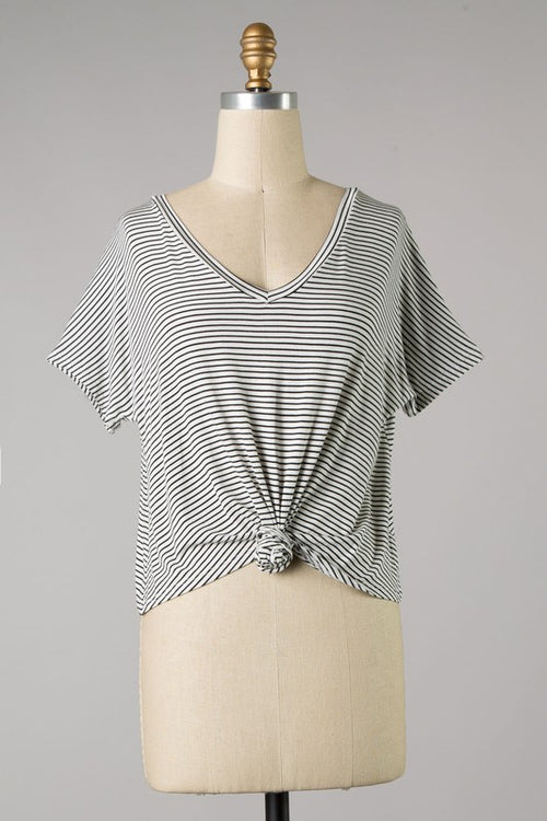 ESSENTIAL KNOTTED STRIPE TEE - WHITE