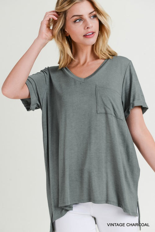VINTAGE WASHED V NECK TOP