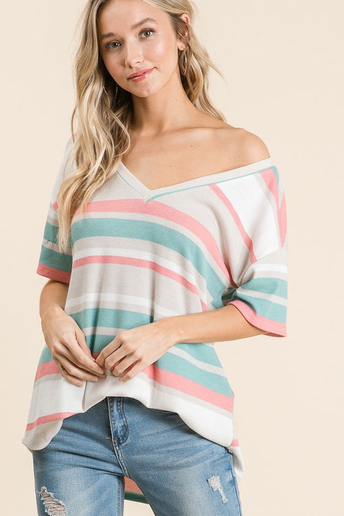 START THE DAY STRIPE TOP