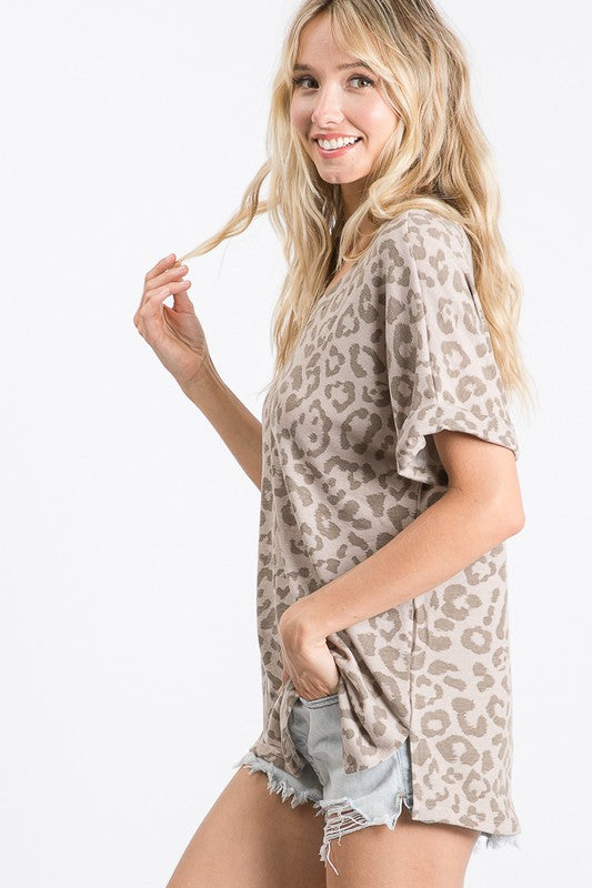 WATCH OUT BOY LEOPARD TOP - TAUPE