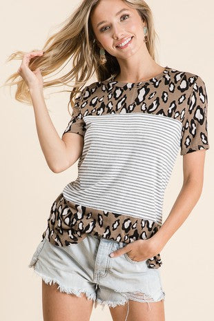MY WAY STRIPED LEOPARD TOP