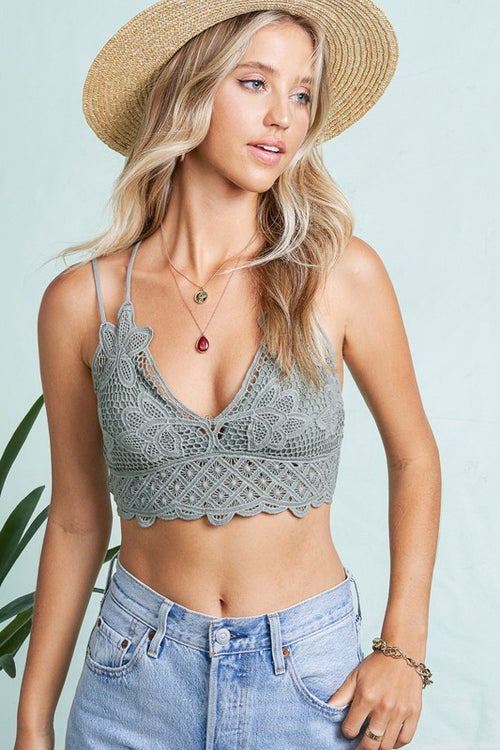 CROCHET LACE BRALETTE WITH BRA PADS