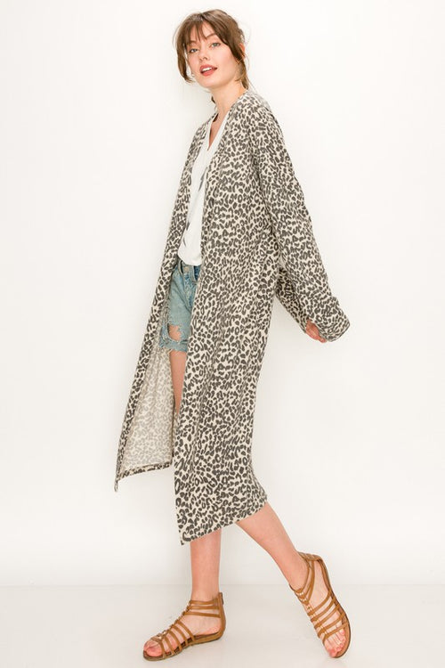 CAREFREE DAYS LEOPARD CARDIGAN - CAMEL