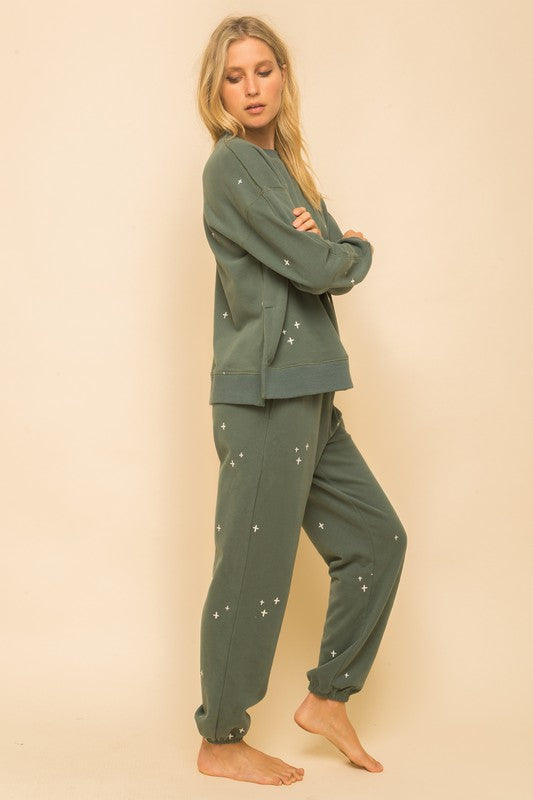 HARLOW SO SOFT EMBROIDERY SWEATPANTS