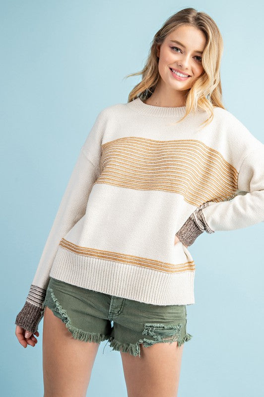 COLD COZY NIGHTS RELAXED KNIT SWEATER - MUSTARD