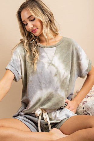 EASILY SWAYED OLIVE TIE DYE TOP