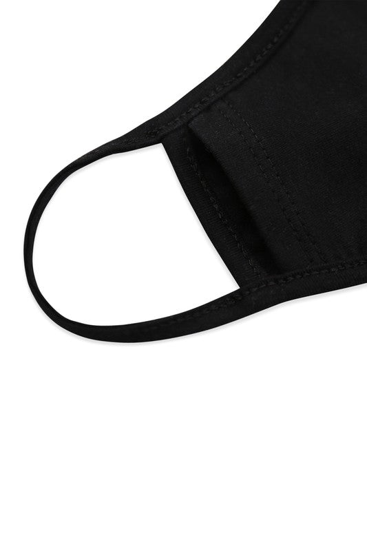 KIDS - PLAIN BLACK FACE MASK WITH FILTER POCKET