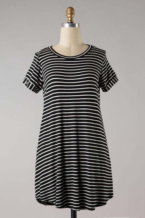 LEAVE IT ALL BEHIND STRIPE DRESS - BLACK