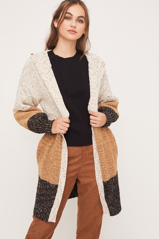 LUSH COLOR BLOCK CARDIGAN