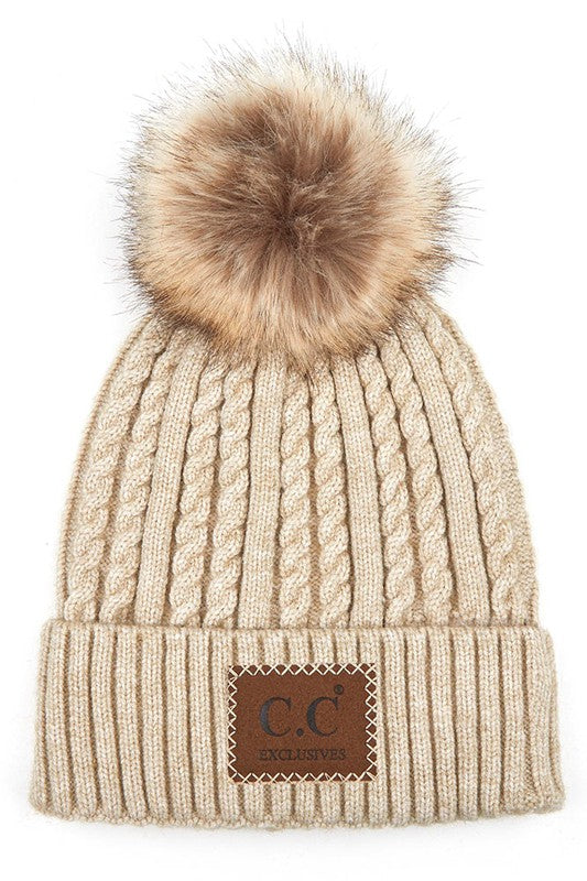 C.C DOUBLE BRAIDED BEANIE WITH POM