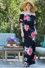 ENCHANTED OFF THE SHOULDER MAXI DRESS - BLACK