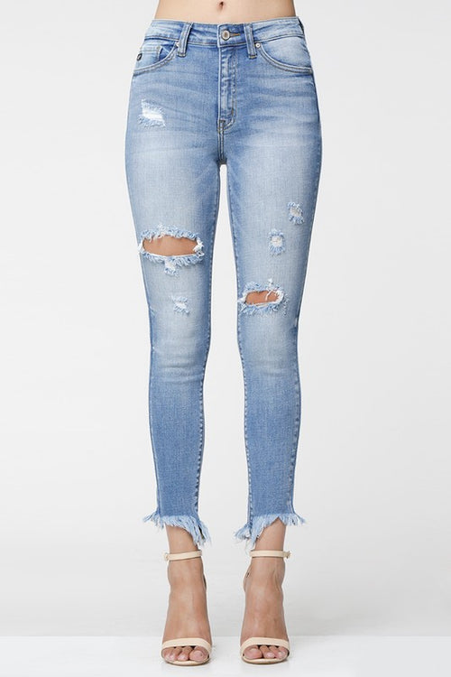 GAME OVER FRAYED ANKLE SKINNY
