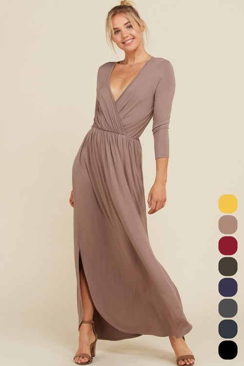FOREVER YOUNG WRAP DRESS - TAUPE
